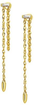 Celara 14K Gold & Diamond Chain Drop Earrings