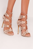 Missguided Laser Cut Rope Lace Up Heeled Sandal Nude