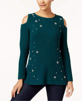 Style&Co. Style & Co Embellished Cold-Shoulder Sweater, Created for Macy's