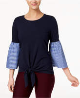 NY Collection Tie-Front Bell-Sleeve Top