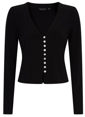 Dorothy Perkins Womens Black Ribbed Cardigan, Black
