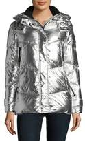 Vince Camuto Silver Hooded Puffer Jacket