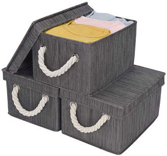 StorageWorks Foldable Fabric Storage Bin with Cotton Rope Handles and Lid 2-Pack
