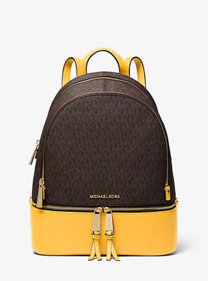 Michael Kors Rhea Medium Logo And Pebbled Leather Backpack