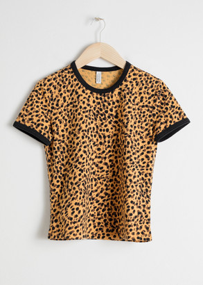 And other stories Leopard Print Ringer T-Shirt