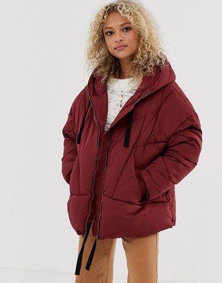 Free People Hailey padded hooded jacket-Red