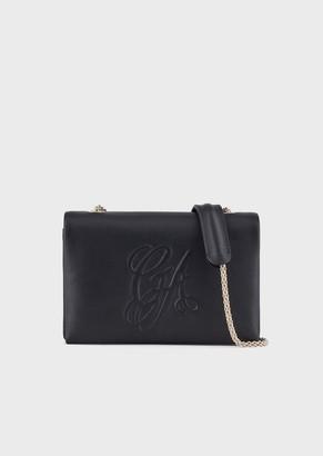 Giorgio Armani Nappa Leather Shoulder Bag With Embossed Logo