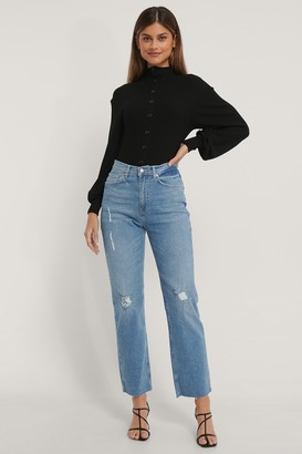 NA-KD High Waist Straight Destroyed Jeans