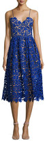 Self-Portrait Azaelea Guipure-Lace Illusion Cocktail Dress, Cobalt