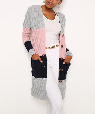 Misell Women's Cardigans Gray - Gray & Pink Color Block Wool-Blend Button-Front Cardigan - Plus