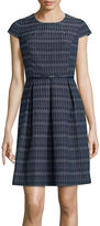 Liz Claiborne Cap-Sleeve Stripe Fit-and-Flare Dress