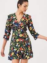 Very Ruffled Hem Wrap Dress - Floral Print