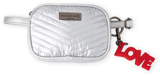 Peace Love World Silver Camera Quilted Nylon Fanny Pack
