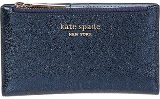 Kate Spade Spencer Metallic Small Slim Bifold Wallet (Metallic Night) Handbags