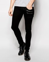 Religion Hero Super Skinny Black Jeans With Zips - Black