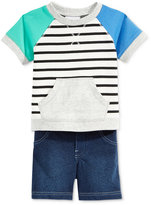 First Impressions 2-Pc. Striped T-Shirt & Denim Shorts Set, Baby Boys (0-24 months), Only at Macy's