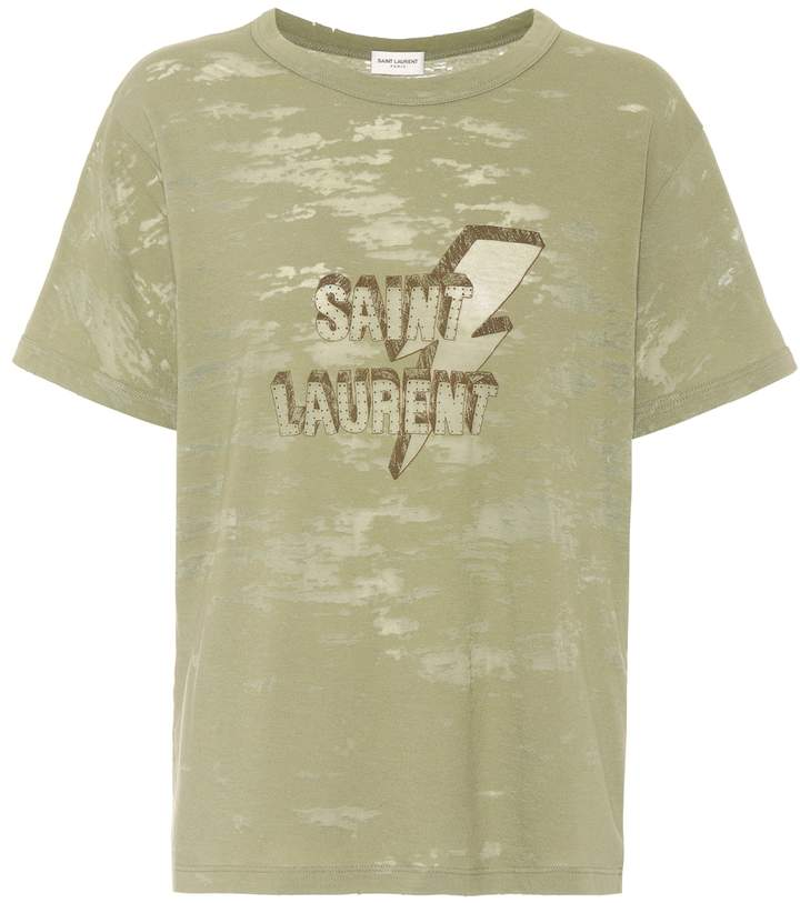 Saint Laurent Printed devore jersey T-shirt