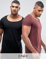 Asos 2 Pack Longline T-Shirt With Scoop Neck And Raw Edges In Red/Black