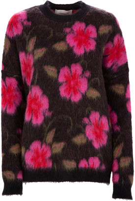 La DoubleJ Printed Mohair-Blend Sweater