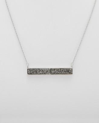 Rivka Friedman White Rhodium Clad Platinum Druzy Necklace