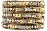 Chan Luu Labradorite and Gold-Plated Beaded Mix Leather Wrap Bracelet