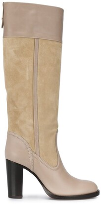 Chloé Knee-High Two-Tone Boots
