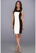 Calvin Klein Colorblock Dress With Zip Accents (Birch) - Apparel