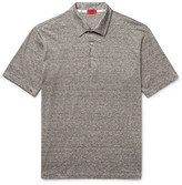 Isaia Space-dyed Linen And Cotton-blend Polo Shirt - Taupe