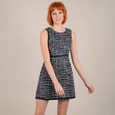 Molly Bracken Short Sleeveless Shift Dress in Tweed Effect