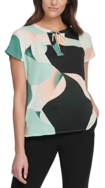 DKNY Petite Puzzle Printed Tie Blouse