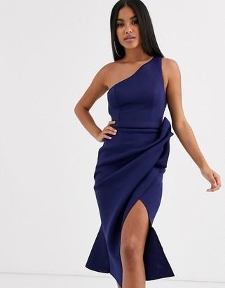Asos Design DESIGN one shoulder tuck detail midi dress-Blue