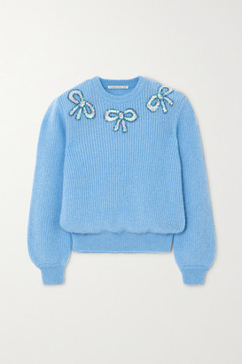 Alessandra Rich Sequin-embellished Mohair-blend Sweater - Blue