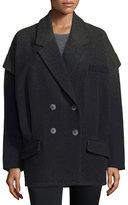 Zac Posen Vanessa Double-Breasted Oversize Coat, Winter Solstice