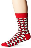 Happy Socks Men's 1pk Unisex Combed Cotton Crew-Red Basket Weave