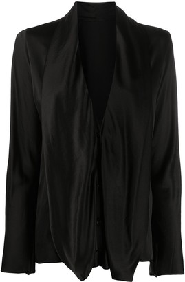 Haider Ackermann Long-Sleeved Draped Neck Blouse
