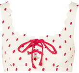 Marysia Swim Palm Springs Scalloped Printed Bikini Top - White