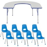 """Factory T-Mold 9 Piece Horseshoe Activity Table & 14""""H Chair Set Direct Partners Side Finish: Blue, Glides: Ball Glide"""