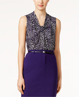 Calvin Klein Printed Knot-Front Shell