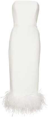 16Arlington Minelli feather-trim strapless midi dress
