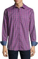 Bugatchi Plaid-Print Sport Shirt, Orchid