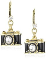 "Betsey Johnson Royal Engagement"" Black Camera Drop Earrings"