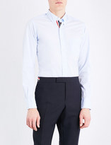 Thom Browne Classic striped-placket cotton-poplin shirt