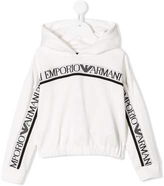 Emporio Armani Kids logo stripe hoodie