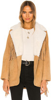 Understated Leather Buttercup Blazer With Faux Fur Collar