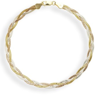 Curata Sterling Silver Multi-colored Goldplated 10-inch Braided Herringbone Anklet - Orange