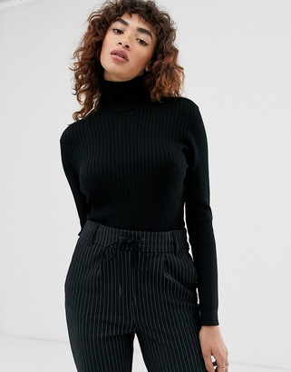 Only rib knitted roll neck top-Black