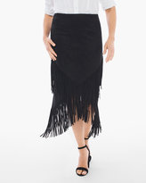 Chico's Faux-Suede Fringed Midi Skirt in Black