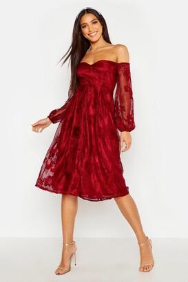 boohoo Boutique Lace Bardot Long Sleeved Dress