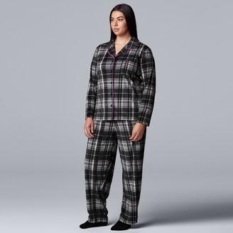 Plus Size Simply Vera Vera Wang 3-Piece Velour Pajamas & Socks Set