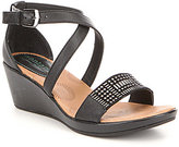 Montana Black Sartell Leather Mini Stud Banded Wedge Sandal
